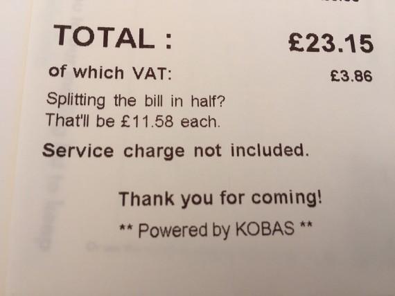 Bill receipt
